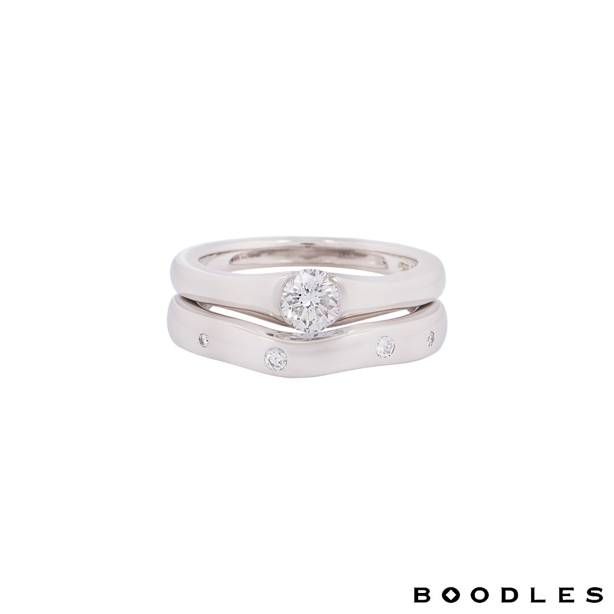 Boodles Platinum Diamond Bridal Set Ring